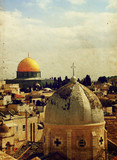 The roofs of the Old City of Jerusalem. The Temple Mount, church