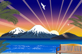 blue sea and hight mountains illustration poster
