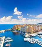 Fototapety panoramic view of marina with beautiful blue sky