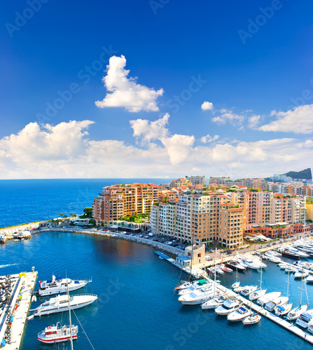 panoramic view of marina with beautiful blue sky