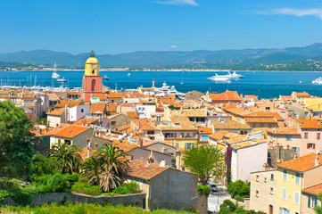 view of Saint-Tropez with sea and blue sky