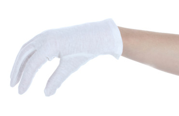 cloth glove on hand isolated on white.