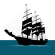 Old sailing ship silhouette