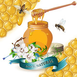 Jar of honey with wooden dipper, bees, ribbon