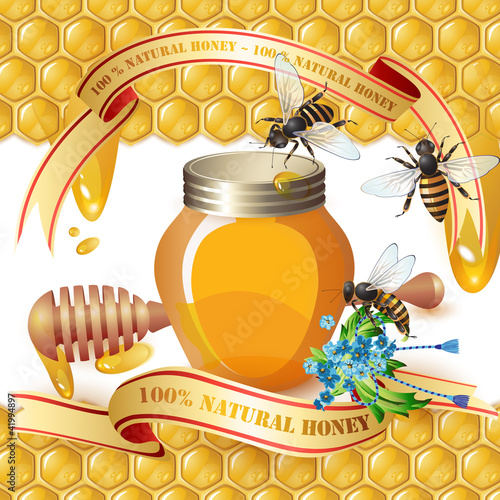 Closed honey jar, wooden dipper, bees, and ribbons