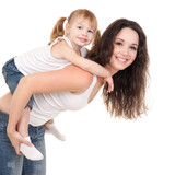 Happy mother and daughter playing on the white background