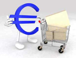 euro symbol with a shopping cart