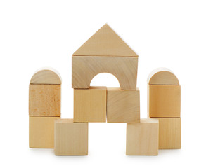 The house from toy wooden cubes