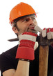 Construction worker with a pick axe
