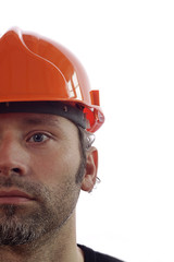 Construction worker on white