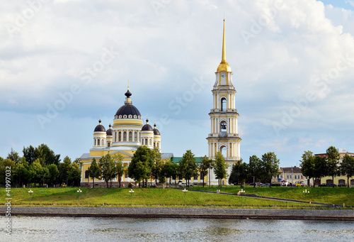 cathedral with bell tower on Volga river bank