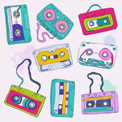 Set of retro cassette tapes