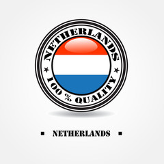 """Label """"made in Netherlands 100% quality"""" with Netherlands flag"""