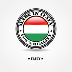 """Label """"made in Italy 100% quality"""" with Italian flag"""