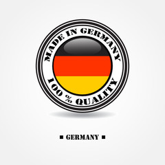 """Label """"made in Germany 100% quality"""" with Germany flag"""