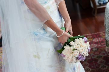 bride waiting in church