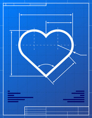 Stylized drawing of heart symbol on blueprint paper.