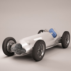 Antique Racing Car Silver
