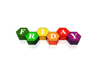 friday in 3d coloured hexagons