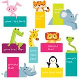 Set of animal labels, vector illustration