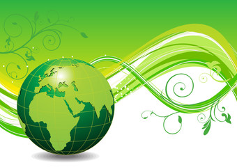 abstact green eco wave background