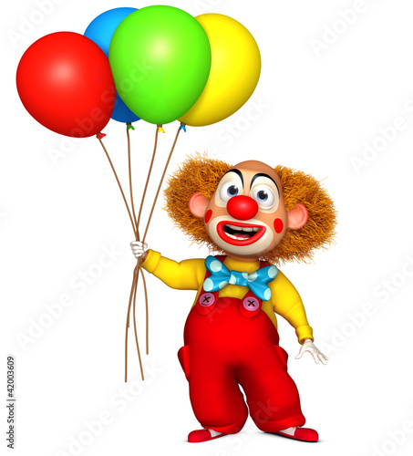 clown holding balloon