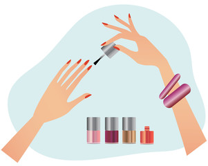 Women hands doing manicure with nail polish