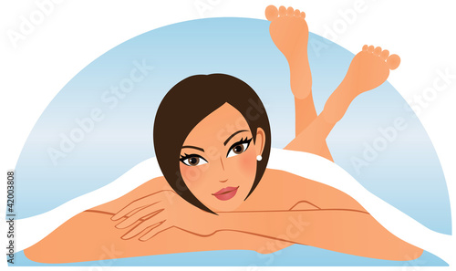 Young attractive woman in spa