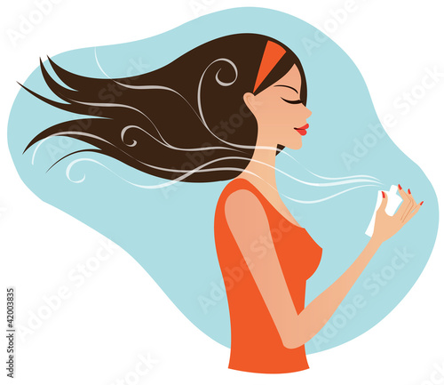 Young attractive woman with perfume