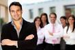 Man leading business team