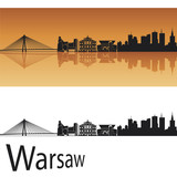 Fototapety Warsaw skyline in orange background