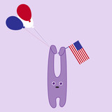 Bunny with American flag and balloons