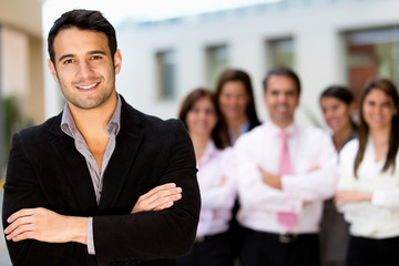 Man leading business team