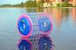 Zorb air bubble on Lake Galve water Trakai Castle