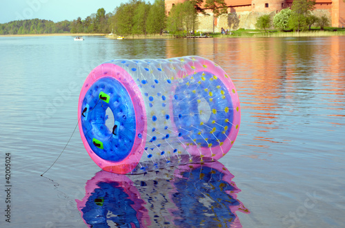 Zorb air bubble on Lake Galve water Trakai Castle