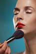 Professional makeup artist working