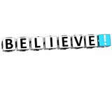 3D Believe Button Click Here Block Text poster