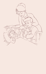 Vector picture. Mother and boy smile at the baby in the crib