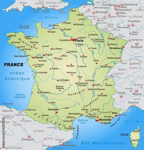 Map of France with neighboring countries