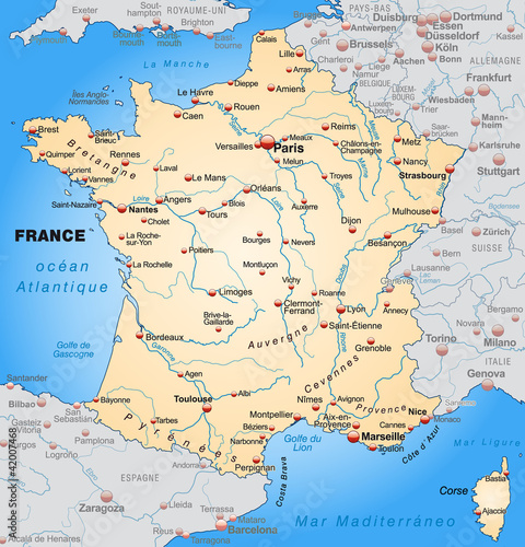 Map of France with neighboring countries in orange