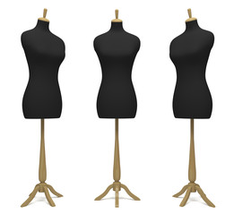 Tailors' dummies in a different position