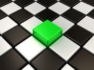 Green cube and chessboard