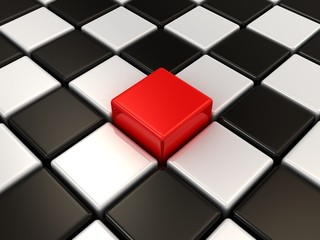 Red cube and chessboard