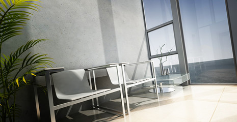 Modern chairs in front of window with sea view