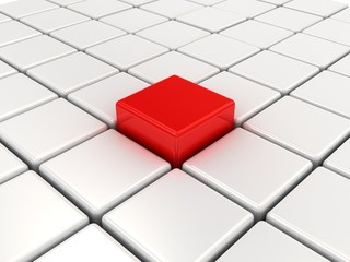 Red cube among white