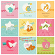 Set of Colorful Baby Cards  - for arrival, birthday, congratulat
