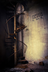 abandoned spiral staircase