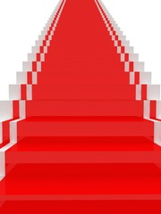 Stairs with red carpet.