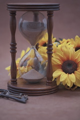 Hourglass, Black Eyed Susans, & Skeleton Keys