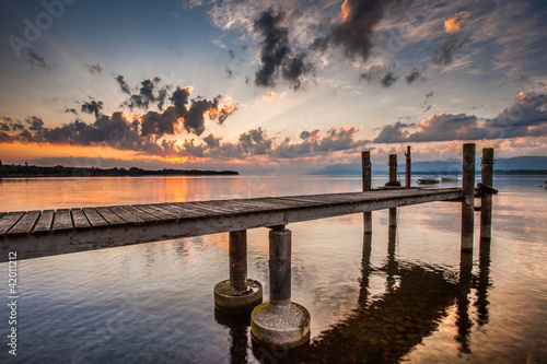 Boat Pier and Sunrise - 42011212